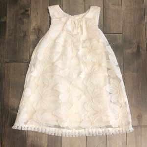 Formal Dress w Lace, Floral and Fringe Detail